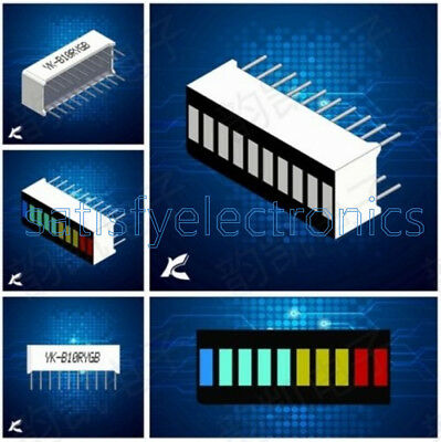 5pcs 10 Segment Colorful Led Bar Graph Indicator Dip Blue Green Yellow Red New