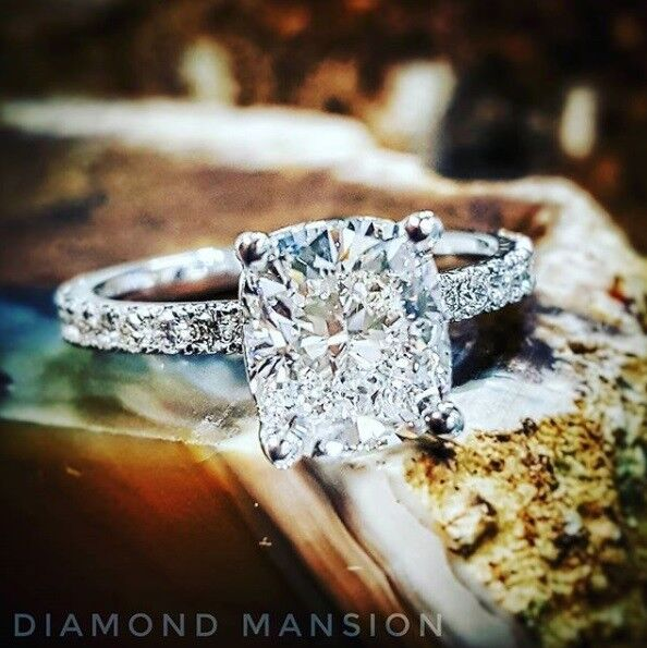 3.40tcw Natural Elongated Cushion Pave Set Diamond Engagement Ring GIA Certified