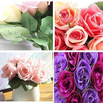 20pcs Rose Silk Artificial Flowers Fake Bouquet Long Stem Wedding Party Decor A+