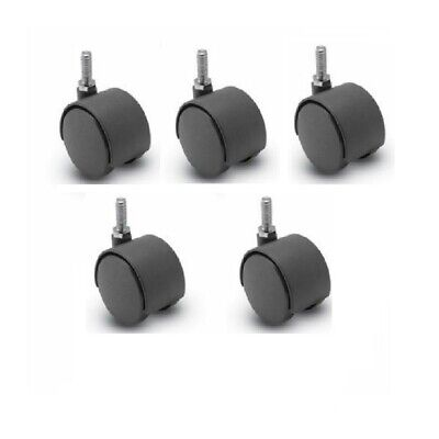 Set Of Five Furniture Casters 2 Twin Wheel 516 Threaded Stems