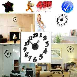 Horloge murale pendule decoration adhesif stickers design pour salon chambre - Decoration murale design ...