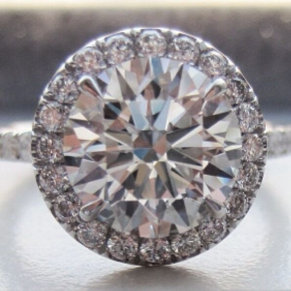 1.60ctw Natural Round Cut Halo Pave Diamond Engagement Ring - GIA Certified