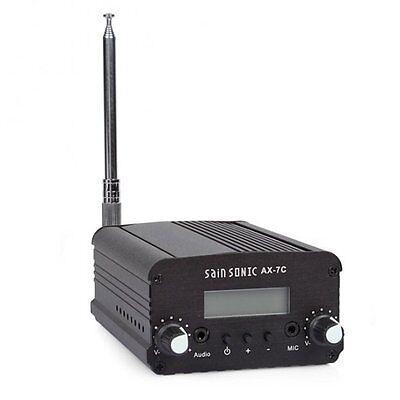 7W 7C FM Transmitter Mini Radio Stereo Station Broadcast PLL LCD Antenna Black