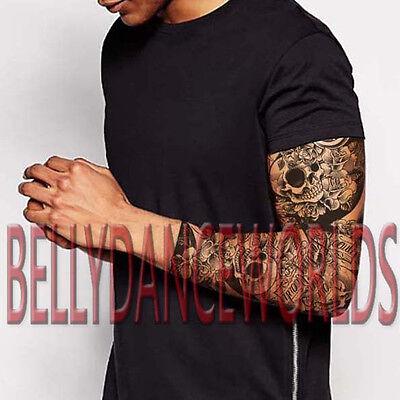 FULL ARM SLEEVE TEMPORARY TATTOO SKULL AND ROSE FINDING BEAUTY BODY ART STICKER - Skull And Roses Tattoo Sleeve