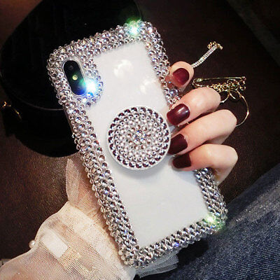 (Bling Diamond Rhinestone Crystal Holder Case Cover for iPhone XS Max XR 7 8 Plus)
