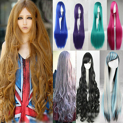 Super Long 100CM Full Wigs Fashion Cosplay Costume Hair Anime Wavy Straight Curl - Long Curled Wig