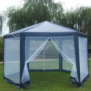 Gazebo Mosquito Net Large Party Screen House Outdoor Hex Camping Tent Navy Blue