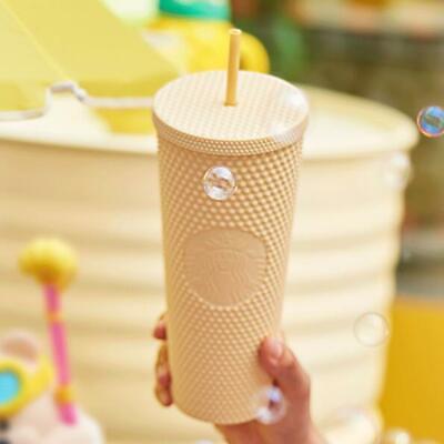 New Starbucks China 2021 Tumbler Yellow Matte Diamond Studded 24oz Straw Cup