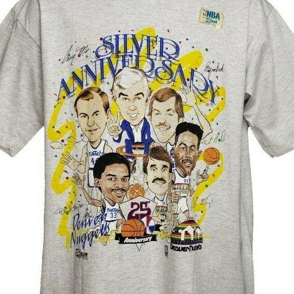 Denver Nuggets T Shirt Vintage 90s Caricature 25th Anniversa