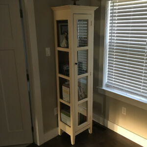 off cream white long tall glass windows display cabinet