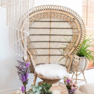 Boho peacock chair for hire