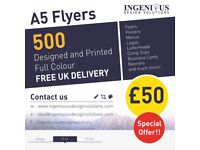 A5 Flyers - Double Sided - Designed, Printed and Delivered from £50!!