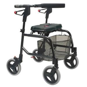 Human Care neXus folding Walker padded seat  lightweight  X frame design