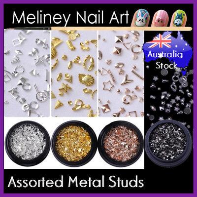 Assorted Metal Studs Nail art Decoration Decal Shells Craft DIY (Metal Art Embellishments)