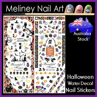 Disney Halloween Nail Decals (Halloween Water Decal Nail Art Stickers Disney Micky Mouse Pumpkin zombie)