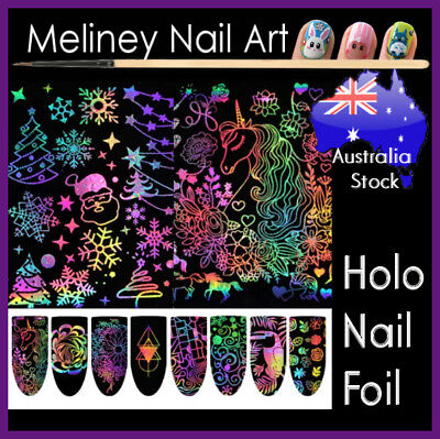 Holographic Christmas Decorations (Holographic Nail Foils Nail Art Transfer Decorations Unicorn Christmas Foil )
