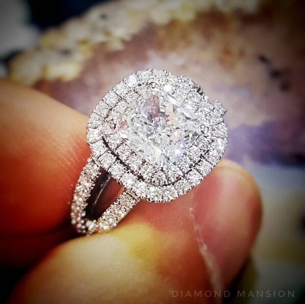 1.70ctw Natural Cushion Double Halo Pave Split Shank Engagement Ring - GIA