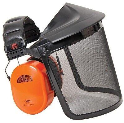 JSP bushmaster pro strimmer headband unit wire gauze mesh visor & ear defenders