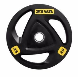 """Ziva 25kg (4 available) ZVO Tri Grip Commercial Olympic 2"""" 50mm Weight Plate Disc (4x = 100kg)"""