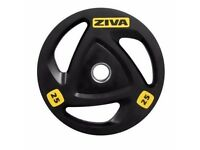 "Ziva 25kg (4 available) ZVO Tri Grip Commercial Olympic 2"" 50mm Weight Plate Disc (4x = 100kg)"