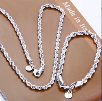 Damen Herren Schmuckset Halskette Armband 925 Sterling Silber plattiert Schmuck