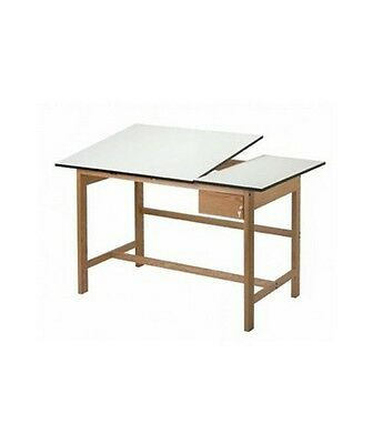 Solid Oak Drafting Table - ALVIN Titan II Solid Oak Drafting Table with Drawer Set