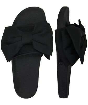 Slydes Peep Bow Womens Slip On Sliders Open Toe Black Flip Flops S0025S001 Z2A