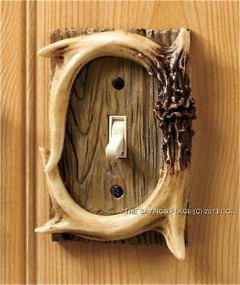FAUX ANTLER HARDWARE ELECTRICAL OUTLET SWITCH PLATE COVER RUSTIC HOME -