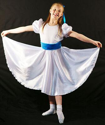 Edwardian-Sound of Music-Von Trapp WHITE SATIN DRESS BLUE SASH All - Von Trapp Kostüm