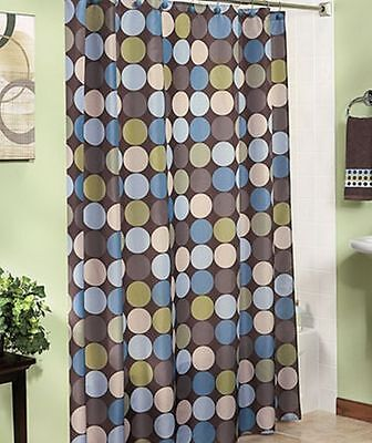 Pinpoint Blue Olive Taupe Chocolate Dot Shower Curtain With 12 Shower Hooks