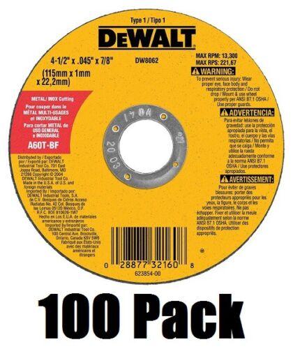 "DeWalt DW8062 4-1/2"" x .045 x 7/8"" Metal Thin Cut-Off Wheels - Quantity 100"