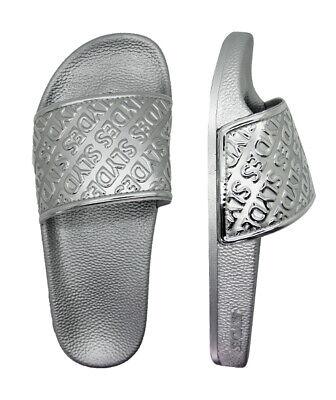 Slydes Chance Womens Slip On Sliders Flip Flops Slides Silver S0075S104 Z2B