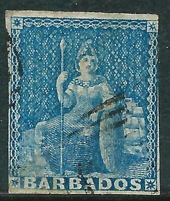 BARBADOS - 1855 QV 'PALE BLUE' GU SG9 Cv £70 [A0045]