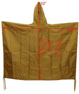 Military USMC Style All Weather NYLON Poncho Rain Coat Coyote TAN *FREE SHIPPING