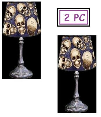 2 pc Spooky Scenes Lampshade Covers Skulls Spider Webs Halloween Party Decor