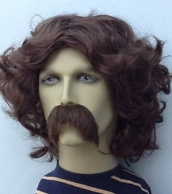 BROWN PIRATE STYLE MIDDLE PARTING WAVY FANCY DRESS WIG & SHAGGY MOUSTACHE SET. ](Mustache Part)