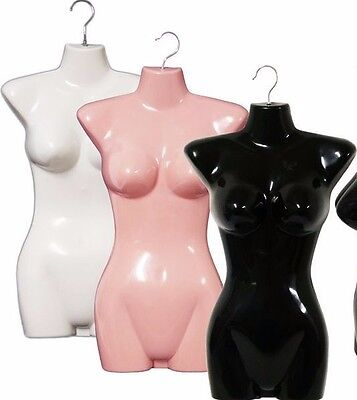 Mn-011 3 Pcs Female Hanging Torso Form W Hook 1 Black 1 Pink 1 White