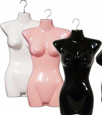 Mn-011 3 Pcs Female Hanging Torso Form W Hook 1 Black 1 Pink 1 White