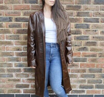 Vintage 90's Lady Trench Leather Jacket-Ashy London - Brown