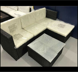 5 Piece Dark Brown Rattan Garden Or Conservatory Sofa And Glass Top Table Set *new*