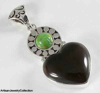 SMOKY QUARTZ GREEN TURQUOISE & 925 STERLING SILVER PENDANT Y664A - Green Smoky Quartz Pendant