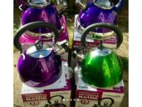 2x 2.5ltr whistling cordless kettles in dark green or purple