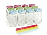 Reusable glass drinking jars with straws