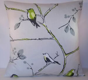 Prestigious-Berkeley-Square-Lime-Birds-Grey-Trees-Cushion-Cover-All-Sizes
