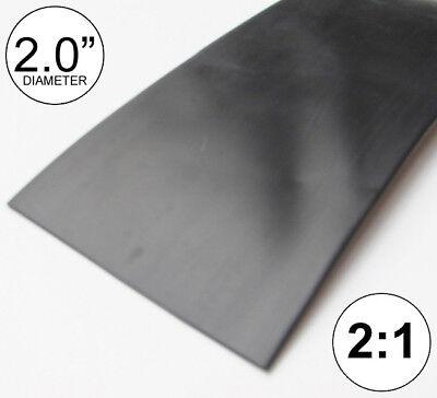 2 Id Black Heat Shrink Tube 21 Ratio Polyolefin 2.0 Feetftto 50mm 8 Inch