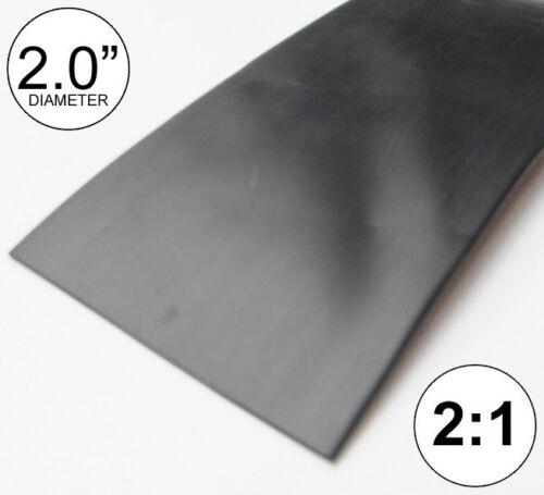 "2"" ID Black Heat Shrink Tube 2:1 ratio (2 feet) polyolefin 2.0"" inch/ft/to 50mm"