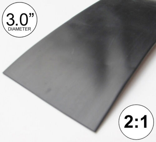 "3"" ID Black Heat Shrink Tube 2:1 ratio 3.0 polyolefin (8 inches) foot/ft/to 80mm"