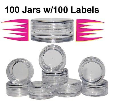 Cosmetic Sample Container Jars 3 gram, 100 Count w/100 Labels $13.99