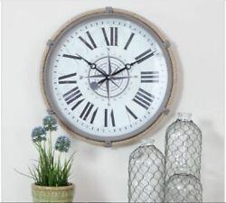 Nautical Wall Clock Rope Coastal Beach Decor Iron Compass Design Metal Kitchen