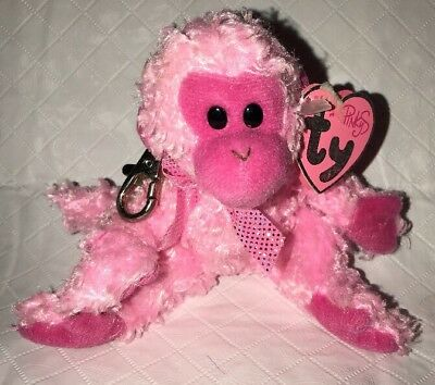 JULEP the Mini Monkey- TY PINKYS BEANIE BABY Key Clip - with MINT TAGS 5""